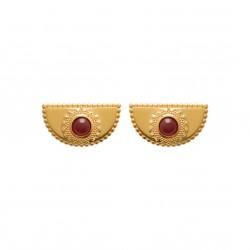 Boucles d'oreilles en plaqué or demi cercle perlé pierre cabochon rouge Obrillant-Bijoux