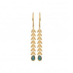 Boucles d'oreilles longues en plaqué or feuilles de laurier et pierre labradorite véritable obrillant-bijoux