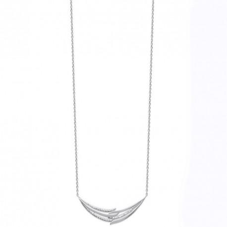 Collier en argent 925/000 rhodié ciselé en zirconium obrillant-bijoux