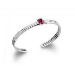 Jonc en argent 925/000 rhodié ciselé pierre cabochon rouge rubis