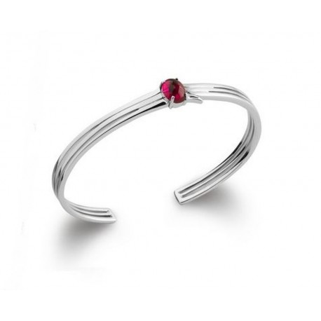 Jonc en argent 925/000 rhodié ciselé pierre cabochon rouge rubis obrillant-bijoux