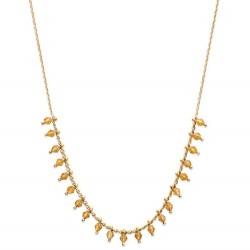 Collier en plaqué or petites pampilles perles boules en cristal orangé Obrillant-Bijoux