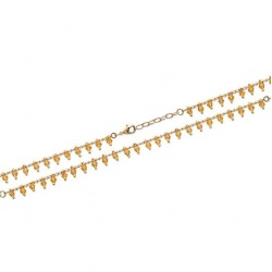 Bracelet en plaqué or petites pampilles perles boules en cristal orangé