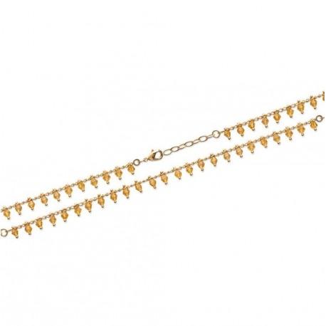 Bracelet en plaqué or petites pampilles perles boules en cristal orangé Obrillant-Bijoux