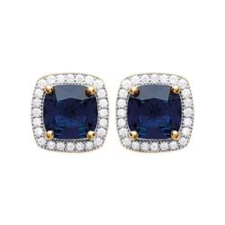 Boucles d'oreilles puces plaqué or style royal cristal bleu pavé zirconium  obrillant-bijoux