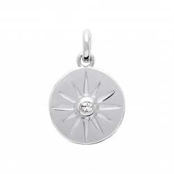 Pendentif en argent rhodié petite médaille ciselée et pierre en zirconium obrillant-bijoux