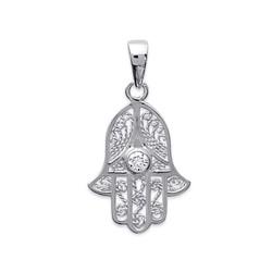 Pendentif argent 925/000 Main de Fatima dentelle zirconium blanc obrillant-bijoux
