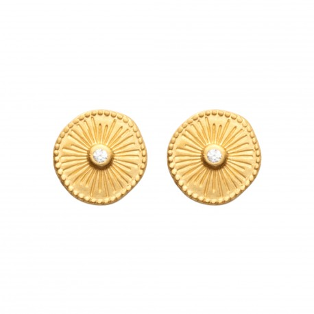 Boucles d'oreilles puces en plaqué or petite médaille ciselée et pierre en zirconium obrillant-bijoux
