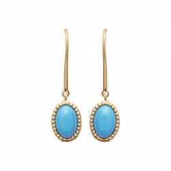 Boucles d'oreilles en plaqué or pierre ovale forme cabochon en turquoises de synthèse