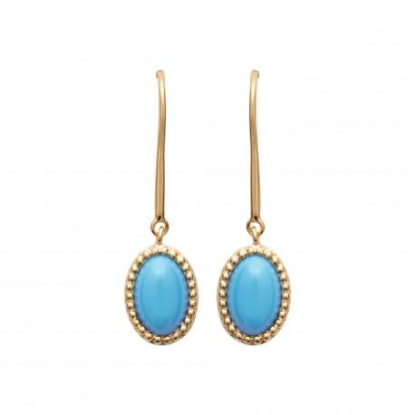 Boucles d'oreilles en plaqué or pierre ovale forme cabochon en turquoises synthèse Obrillant-Bijoux