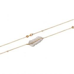 Bracelet en plaqué or plume finement ciselé pavé de pierres en zirconium blanc obrillant-bijoux