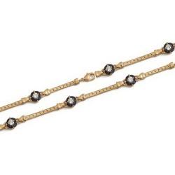 Bracelet en plaqué or pastille en cristal bleu et pierres en zirconium blanc obrillant-bijoux