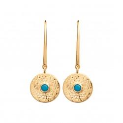 Boucles d'oreilles crochets en plaqué or médaille et turquoise imitation obrillant-bijoux