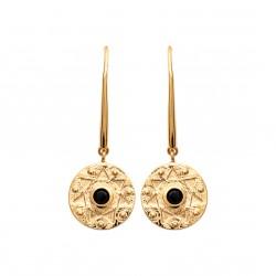 Boucles d'oreilles crochets en plaqué or médaille et pierre noire