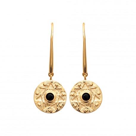 Boucles d'oreilles crochets en plaqué or médaille et pierre noire obrillant-bijoux