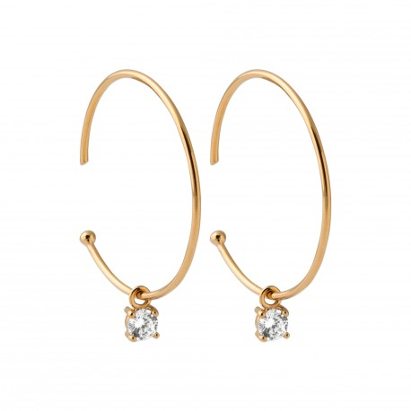 Créoles en plaqué or anneaux avec une pierre en zirconium blanc obrillant-bijoux