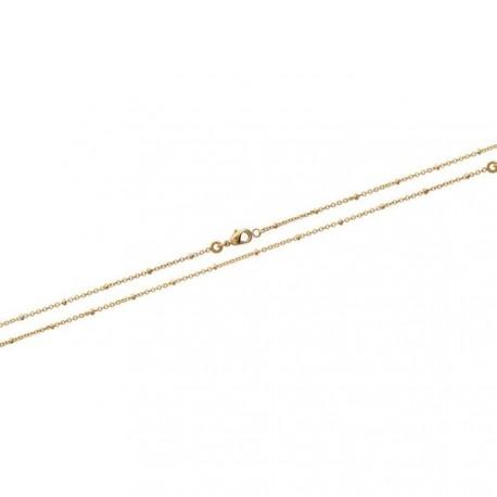 Collier en plaqué or maille fine petites boules perles 42 cm obrillant-bijoux