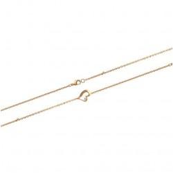 Bracelet en plaqué or cœur et pierre en zirconium blanc obrillant-bijoux