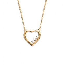 Collier en plaqué or cœur avec pierres en zirconium blanc obrillant-bijoux