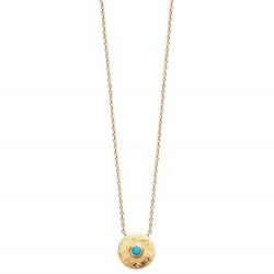 Collier en plaqué or médaille ronde et pierre bleu obrillant-bijoux