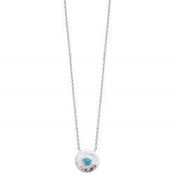 Collier en argent rhodié médaille ronde et pierre noire obrillant-bijoux