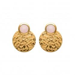Boucles d'oreilles en plaqué or cercle martelé et quartz rose obrillant-bijoux