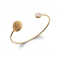 Jonc en plaqué or cercle martelé et quartz rose véritable en cabochon obrillant-bijoux