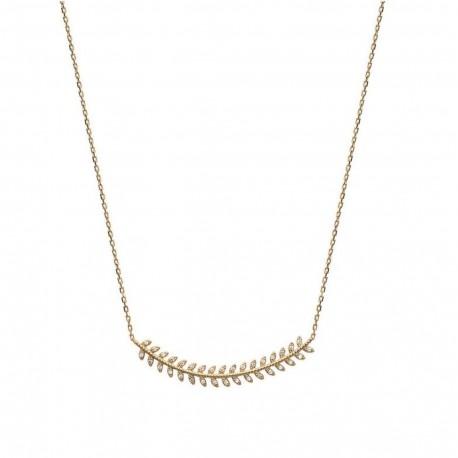 Collier en plaqué or épis feuilles de laurier pavé en zirconium blanc obrillant-bijoux