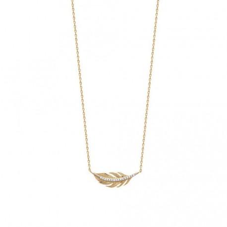 Collier en plaqué or plume pavé en zirconium blanc obrillant-bijoux
