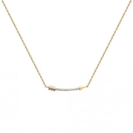 Collier en plaqué or flèche pavé en zirconium blanc obrillant-bijoux