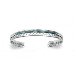 Jonc ouvert en argent 925/000 rhodié dentelle en pierres turquoises synthèse bleu et zirconium obrillant-bijoux