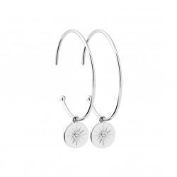 Boucles d'oreilles en argent rhodié anneaux pampilles soleils et zirconium obrillant-bijoux
