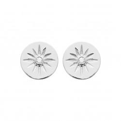 Puces d'oreilles en argent rhodié pastilles soleils et zirconium obrillant-bijoux