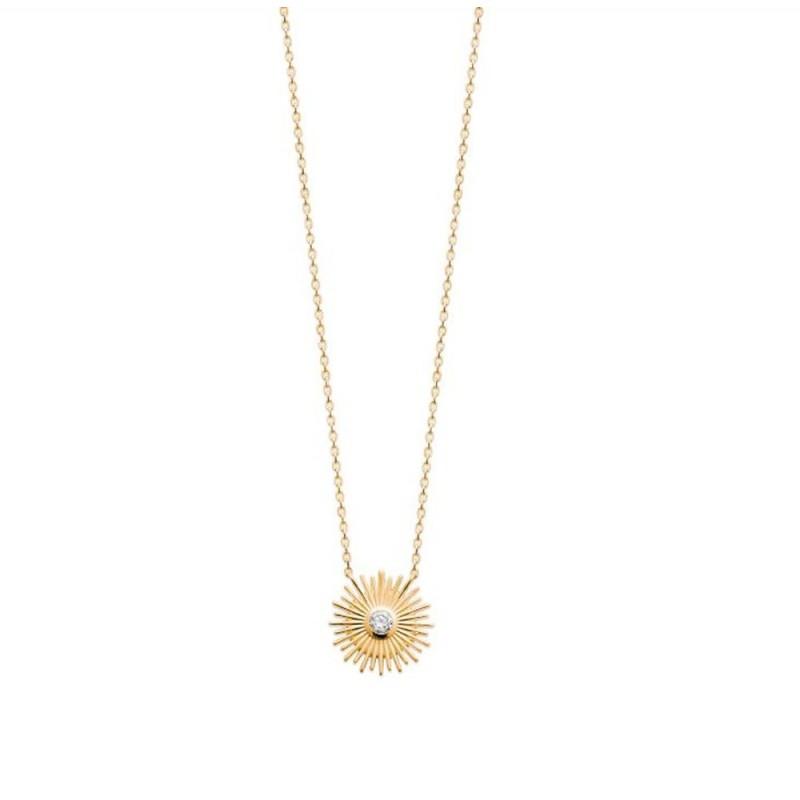 mode designer 3525a 84b4a Collier plaqué or pendentif soleil avec une pierre en zirconium blanc