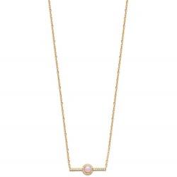 Collier en plaqué or pierre de synthèse rose pavé en zirconium obrillant-bijoux