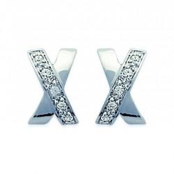 Boucles d'oreilles en argent 925/1000 rhodié X pavé en zirconium obrillant-bijoux