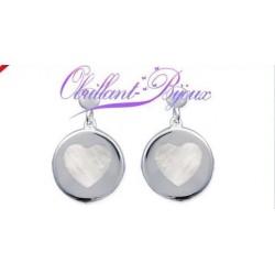 Boucles d'oreilles en argent 925/000 coeurs en véritable nacre obrillant-bijoux