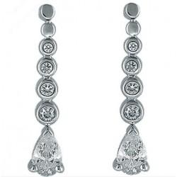 Boucles d'oreilles en argent 925/1000 rhodié pierres poires en zirconium obrillant-bijoux