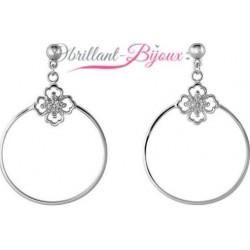 Boucles d'oreilles en argent 925/1000 rhodié anneaux et pierres en zirconium obrillant-bijoux