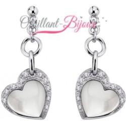 Boucles d'oreilles en argent 925/1000 rhodié coeurs en véritable nacre et zirconium obrillant-bijoux