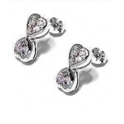 Boucles d'oreilles en argent 925/1000 rhodié doubles coeurs en zirconium obrillant-bijoux