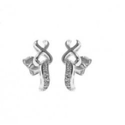 Boucles d'oreilles en argent 925/1000 rhodié pavé en zirconium obrillant-bijoux