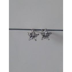 Puces d'oreilles en argent 925/1000 rhodié étoile en cristal blanc obrillant-bijoux