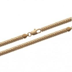 Collier en plaqué or maille anglaise diamantée 4 mm obrillant-bijoux