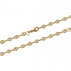 Collier en plaqué or maillons grains de café agrafées 2 mm obrillant-bijoux