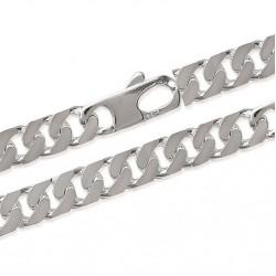 chaine collier en argent 925/000 maille large gourmette diamantée 4 faces 10 mm  obrillant-bijoux