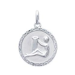 Pendentif argent 925 rhodié médaille ciselée verseau Obrillant-Bijoux
