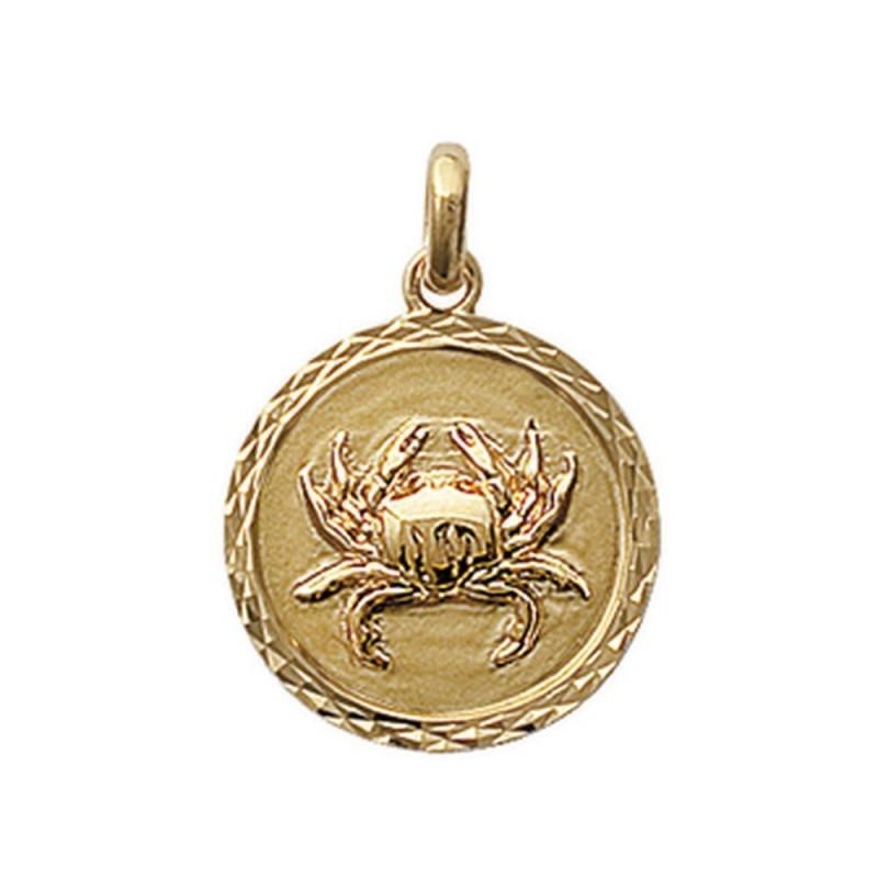 Obrillant-Bijoux Pendentif en plaqu/é Or m/édaille cisel/ée Signe Cancer Signe Astrologique Zodiaque