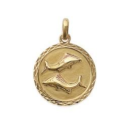 Pendentif en plaqué or médaille ciselée signe Poisson signe astrologique zodiaque