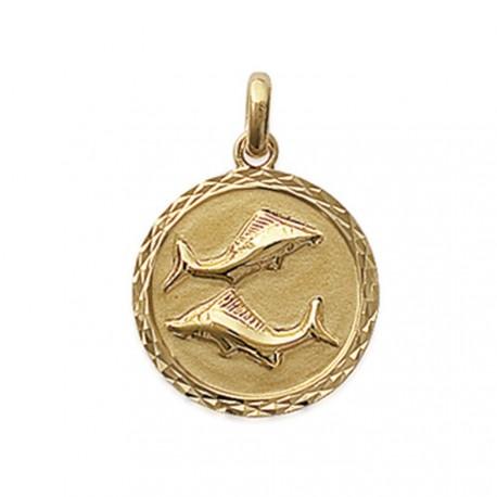 Pendentif plaqué or médaille ciselée Poisson Obrillant-Bijoux